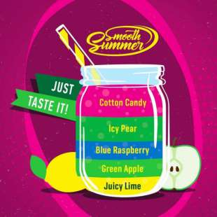 Big Mouth Smooth Summer: Juicy Lime - Green Apple - Blue Raspberry - Icy Pear - Cotton Candy foto 1